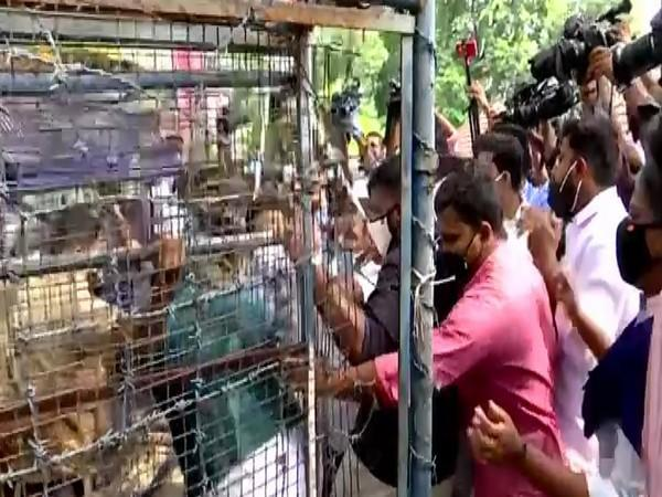 A visual from the protest march in Thiruvananthapuram on Thursday. Photo/ANI