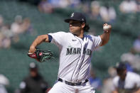 Seattle Mariners starting pitcher Marco Gonzales throws against the Los Angeles Dodgers in the first inning of a baseball game Tuesday, April 20, 2021, in Seattle. (AP Photo/Ted S. Warren)