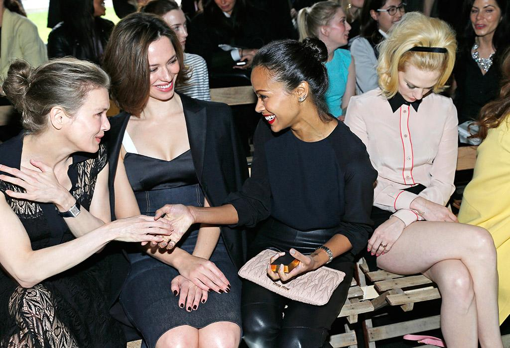 PARIS, FRANCE - MARCH 06:  (L-R) Renee Zellweger, Rebecca Hall, Zoe Saldana and January Jones attend the Miu Miu Fall/Winter 2013 Ready-to-Wear show as part of Paris Fashion Week on March 6, 2013 in Paris, France.  (Photo by Bertrand Rindoff Petroff/Getty Images)