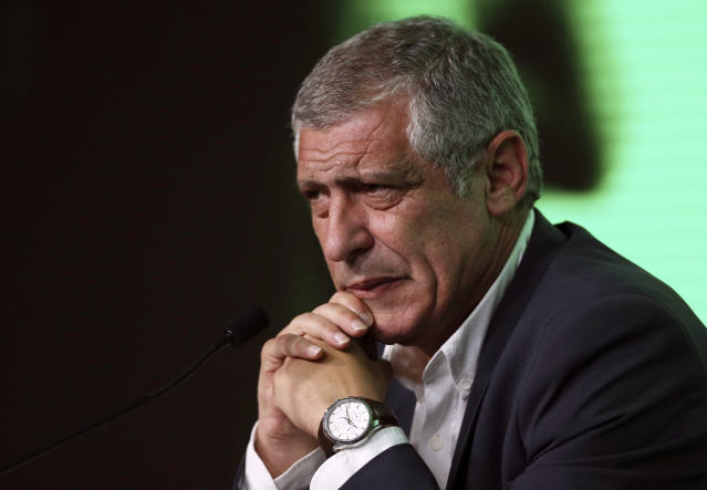 Portugal coach Fernando Santos announces his World Cup squad, during a press conference, at the Portuguese federation headquarters in Oeiras, outside Lisbon, Thursday, May 17, 2018. (AP Photo/Armando Franca)