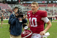 Alabama quarterback Mac Jones (10) jogs off the field after an NCAA college football game against Western Carolina, Saturday, Nov. 23, 2019, in Tuscaloosa, Ala. (AP Photo/Vasha Hunt)