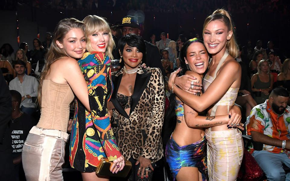 """Taylor Swift (second from left) with Gigi Hadid, Sandra """"Pepa"""" Denton, Halsey and Bella Hadid at the 2019 MTV Video Music Awards - Kevin Mazur/WireImage"""