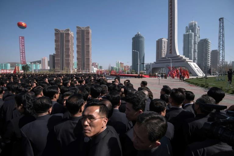 Tens of thousands of people attended the apartment project opening in Pyongyang