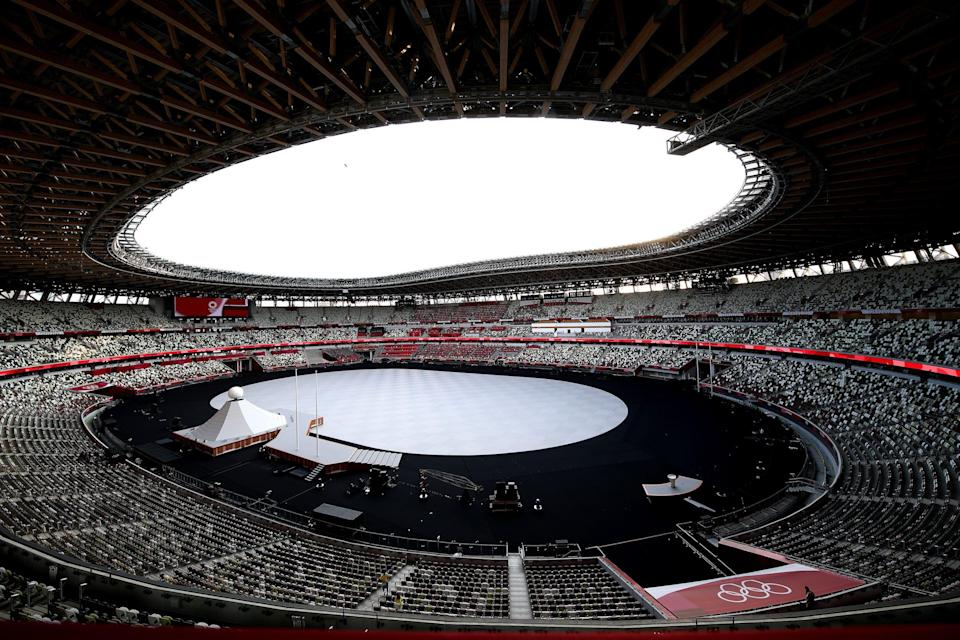 A general view of the Olympic Stadium in Tokyo as it sits empty just before the start of the Opening Ceremony