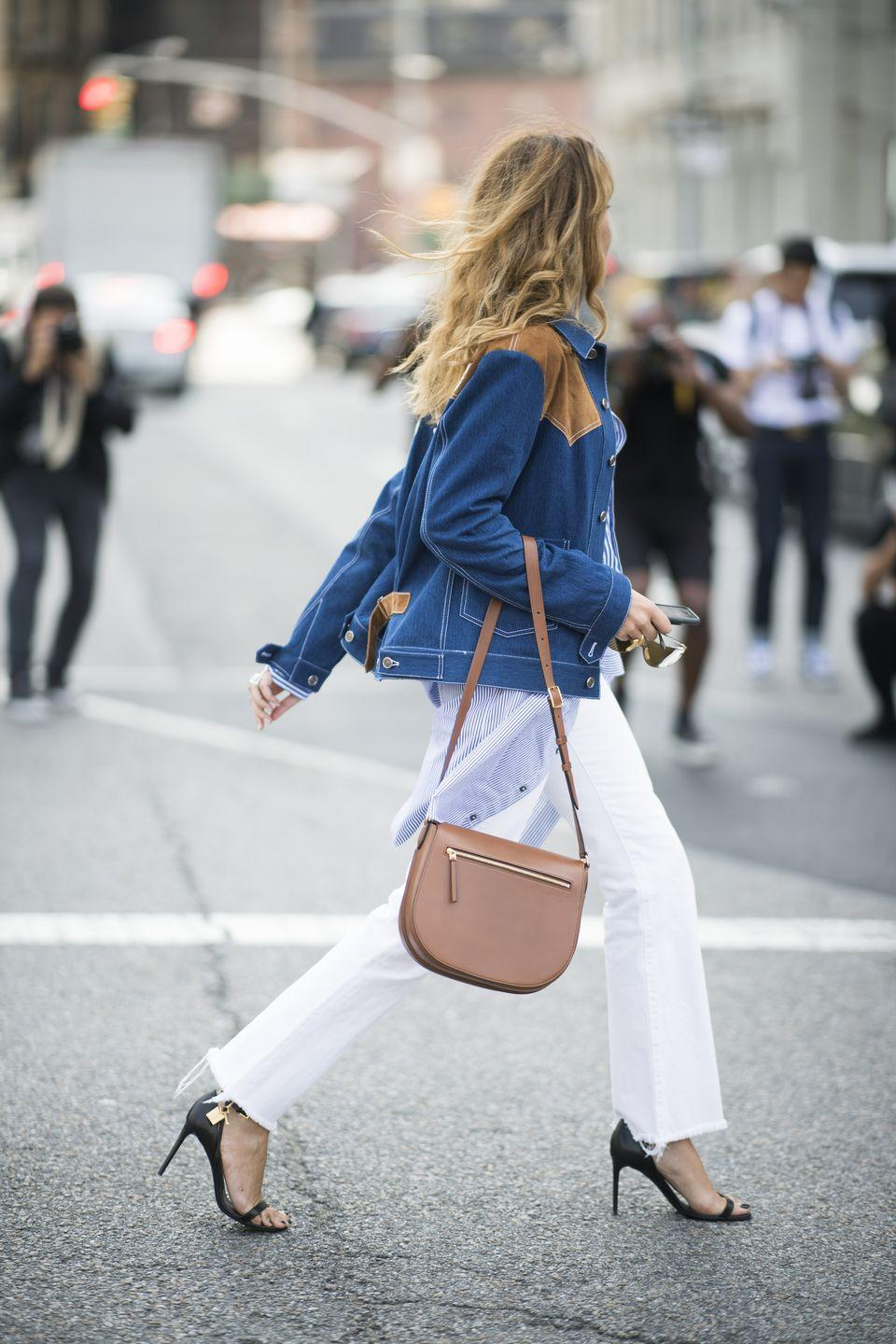 <p>Try a denim jacket with suede or leather detailing for the fall. </p>