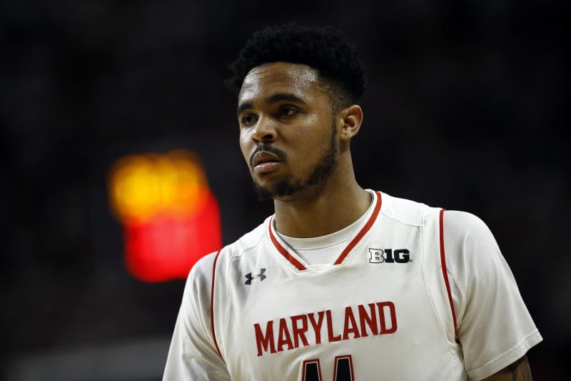 """FILE - In this Sunday, Jan. 28, 2018, file photo, Maryland guard Jared Nickens walks on the court in the second half of an NCAA college basketball game against Michigan State in College Park, Md. A federal judge has dismissed a lawsuit in which two former University of Maryland men's basketball players accused makers of the """"Fortnite"""" video game of misappropriating a dance move that the ex-teammates popularized. U.S. District Judge Paul Grimm in Maryland ruled FridayMay 29, 2020, that the Copyright Act preempts claims that Jared Nickens and Jaylen Brantley filed in February 2019 against Epic Games Inc., creator of the wildly popular online shooting game.  (AP Photo/Patrick Semansky, File)"""