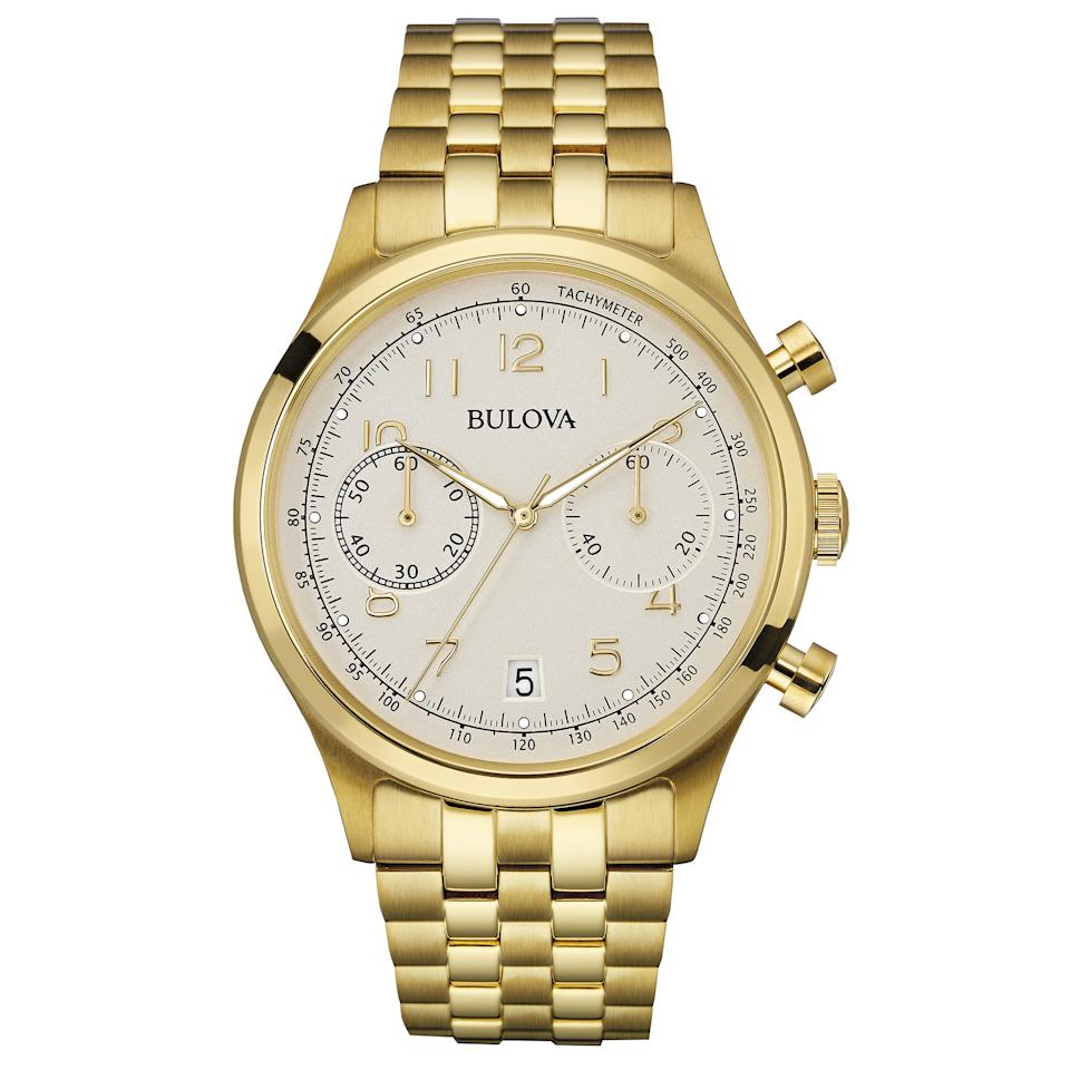 "<p>This Bulova watch gives us <em>The Wolf of Wall Street</em> vibes in a really good way.</p> <p>$499 | <a rel=""nofollow"" href='http://www.bulova.com/collections/mens-classic-watches/products/97b149'>bulova.com</a></p>"
