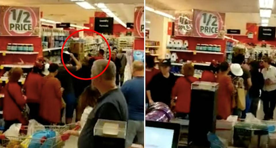 The queue quickly expanded as a Coles employee stacked the shelf with baby formula. Source: Corey Zammit