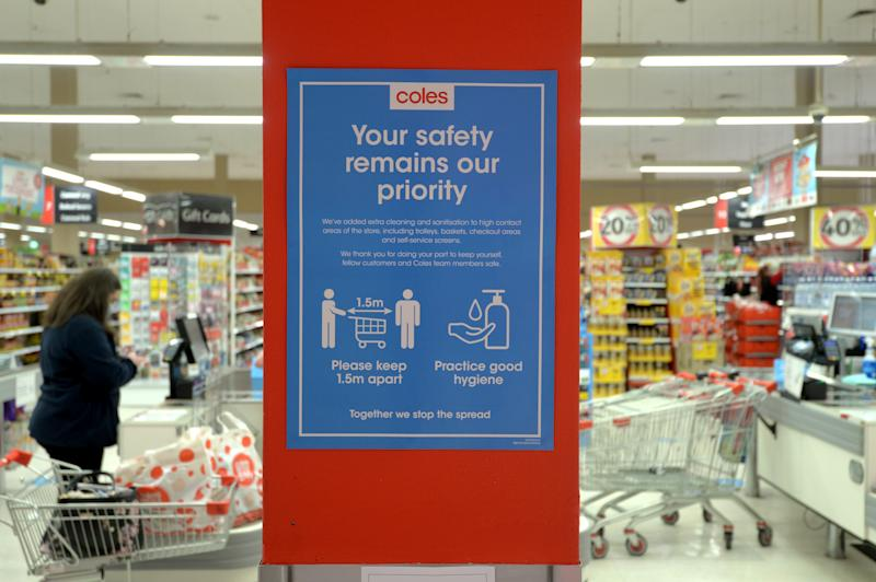 Picture of a sign in a Coles store in Victoria.