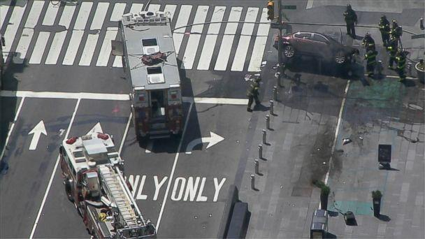 PHOTO: First responders work at the scene in Times Square where a car struck several pedestrian, May 18, 2017, in New York. (WABC)