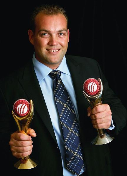 SYDNEY, NSW - OCTOBER 11:  Jacques Kallis of South Africa poses with the Sir Garfield Sobers Trophy and the Test Player of the Year Trophy after being named joint Player of the Year with Andrew Flintoff and Test Player of the Year during the ICC Awards Ceremony at the Four Seasons Hotel on October 11, 2005 in Sydney, Australia.  (Photo by Hamish Blair/Getty Images)