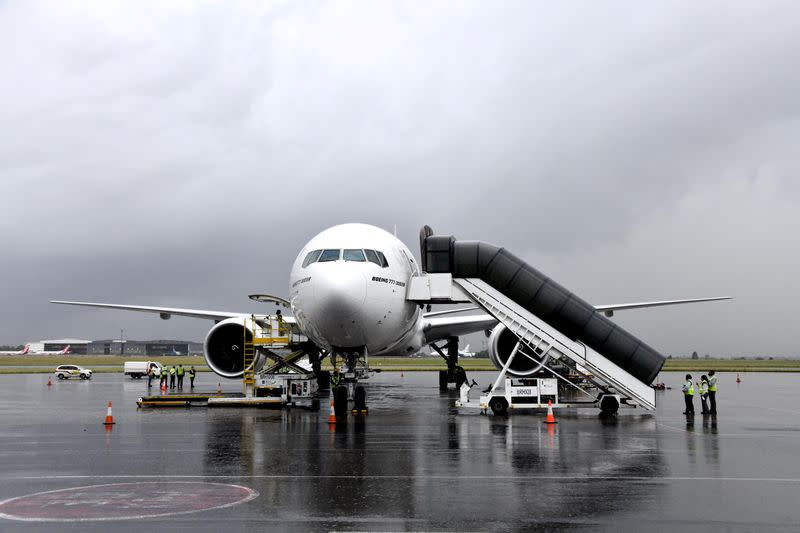 An aircraft carrying South Africa's first COVID-19 vaccine doses arrives at OR Tambo airport in Johannesburg