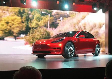 A Tesla Model 3 sedan its first car aimed at the mass market is displayed during its launch in Hawthorne California