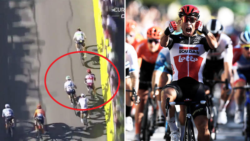 Caleb Ewan (pictured left) zig-zagging out of opponents before winning Stage Three of the Tour de France (pictured right). (Images: Eurosport/Getty Images)