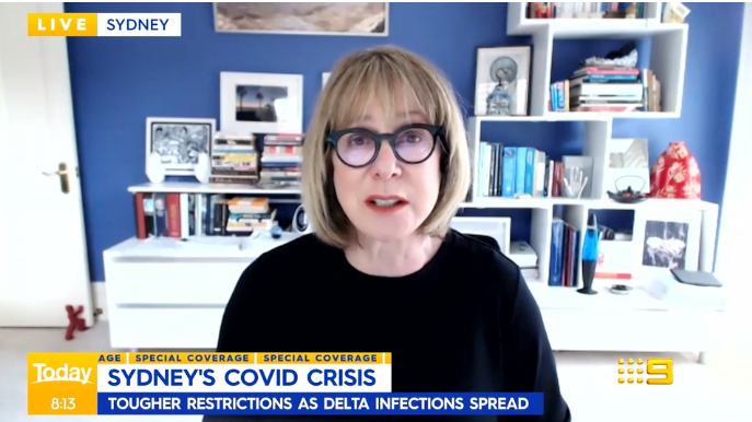 Professor Marylouise McLaws is pictured on Weekend Today, discussing Sydney's Covid lockdown extending beyond August.