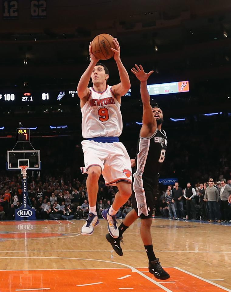 NEW YORK, NY - JANUARY 03:  Pablo Prigioni #9 of the New York Knicks goes up to score two against the San Antonio Spurs at Madison Square Garden on January 3, 2013 in New York City. NOTE TO USER: User expressly acknowledges and agrees that, by downloading and/or using this photograph, user is consenting to the terms and conditions of the Getty Images License Agreement. The Knicks defeated the Spurs 100-83.  (Photo by Bruce Bennett/Getty Images)