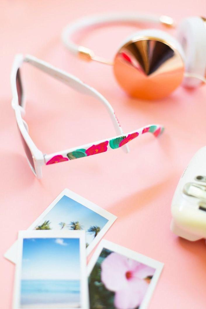 """<p>A signature set of sunglasses is one of the coolest DIYs we've seen lately. Protect her eyes and give her a stylish upgrade with these hand-painted shades.</p><p><strong>Get the tutorial at <a href=""""https://lovelyindeed.com/diy-floral-painted-sunglasses/"""" rel=""""nofollow noopener"""" target=""""_blank"""" data-ylk=""""slk:Lovely Indeed"""" class=""""link rapid-noclick-resp"""">Lovely Indeed</a>.</strong></p><p><strong><a class=""""link rapid-noclick-resp"""" href=""""https://go.redirectingat.com?id=74968X1596630&url=https%3A%2F%2Fwww.walmart.com%2Fip%2FCrazy-Colors-30-Color-3D-Fabric-Paint-Set-Kit-Shiny-Vibrant-Puffy-Colors-in-Marker-Pen-Style-Bottles%2F606985614&sref=https%3A%2F%2Fwww.thepioneerwoman.com%2Fholidays-celebrations%2Fgifts%2Fg32307619%2Fdiy-gifts-for-mom%2F"""" rel=""""nofollow noopener"""" target=""""_blank"""" data-ylk=""""slk:SHOP PAINT"""">SHOP PAINT</a><br></strong></p>"""