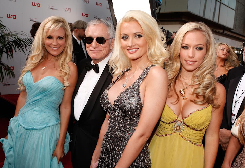 Bridget Marquardt, Hefner, Madison and Kendra Wilkinson attended red carpets as a foursome. (Photo by Kevin Winter/Getty Images for AFI)