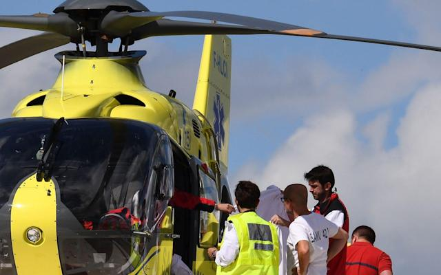 Froome is airlifted to hospital after suffering a broken leg, arm and ribs before stage four of theCriterium du Dauphine - AFP