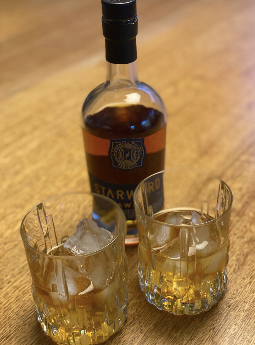 Two glasses filled with Melbourne-made Starward whisky. Source: Twitter
