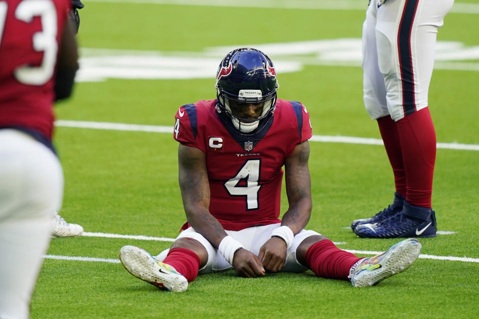 Texans quarterback asked fans not to march on his behalf in public due to COVID-19 safety issues. (AP Photo/David J. Phillip)