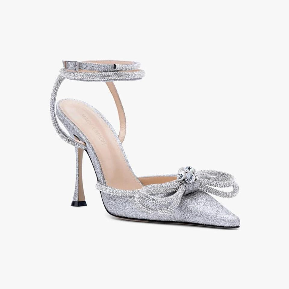 """$1070, NORDSTROM. <a href=""""https://www.nordstrom.com/s/mach-mach-glitter-double-crystal-bow-pointed-toe-pump-women/5922327"""" rel=""""nofollow noopener"""" target=""""_blank"""" data-ylk=""""slk:Get it now!"""" class=""""link rapid-noclick-resp"""">Get it now!</a>"""