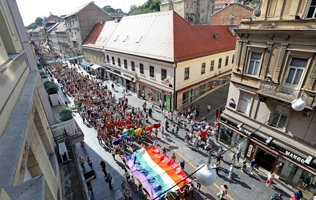 <p>Participants attend the 17th Gay Pride Parade in downtown Zagreb, Croatia, on June 9, 2018. (Photo: Stringer/AFP/Getty Images) </p>