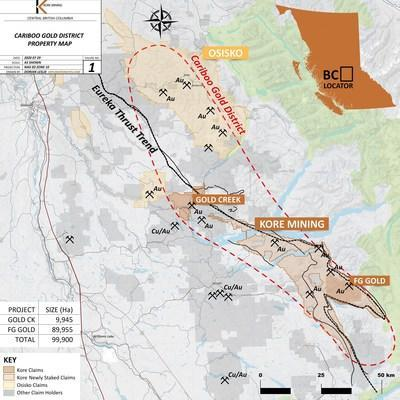 Figure 1 – Cariboo Gold District Map (CNW Group/Kore Mining)
