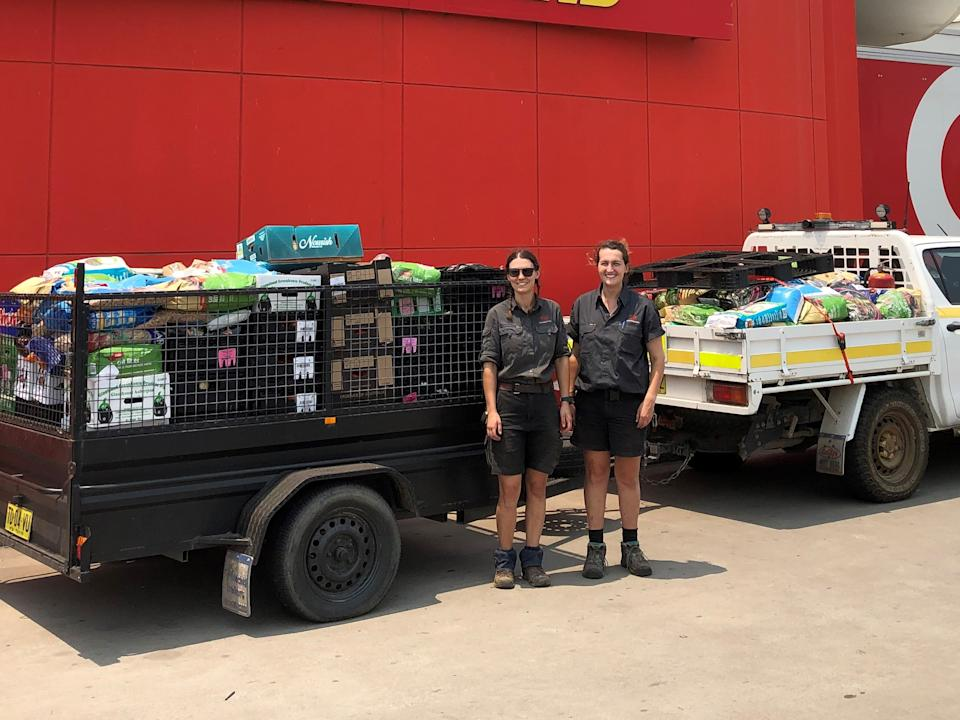 The Mogo Wildlife team with stock from Coles donated for the animals. Source: Supplied/Coles