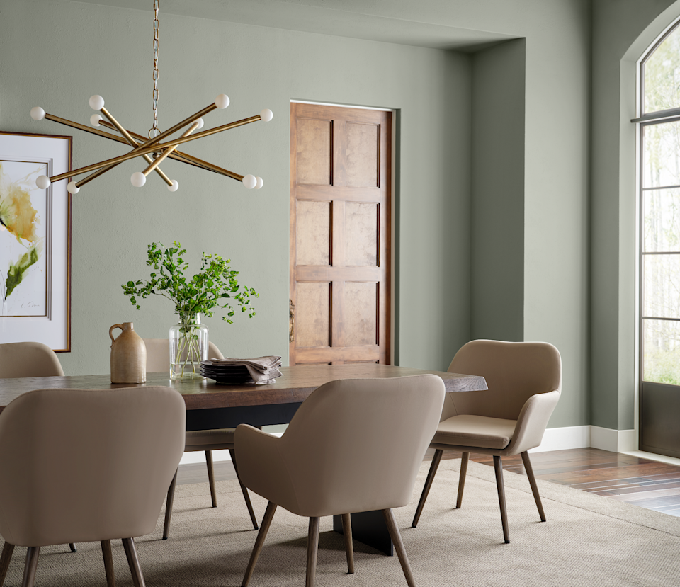 Gray-green paint in dining room