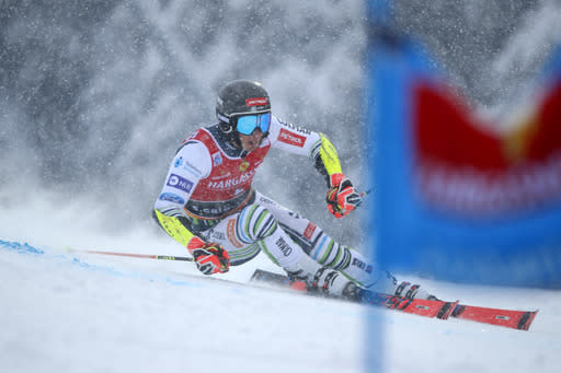 Slovenia's Zan Kranjec competes during the first run of an alpine ski, World Cup men's giant slalom in Santa Caterina Valfurva, Italy, Saturday, Dec. 5, 2020. (AP Photo/Gabriele Facciotti)