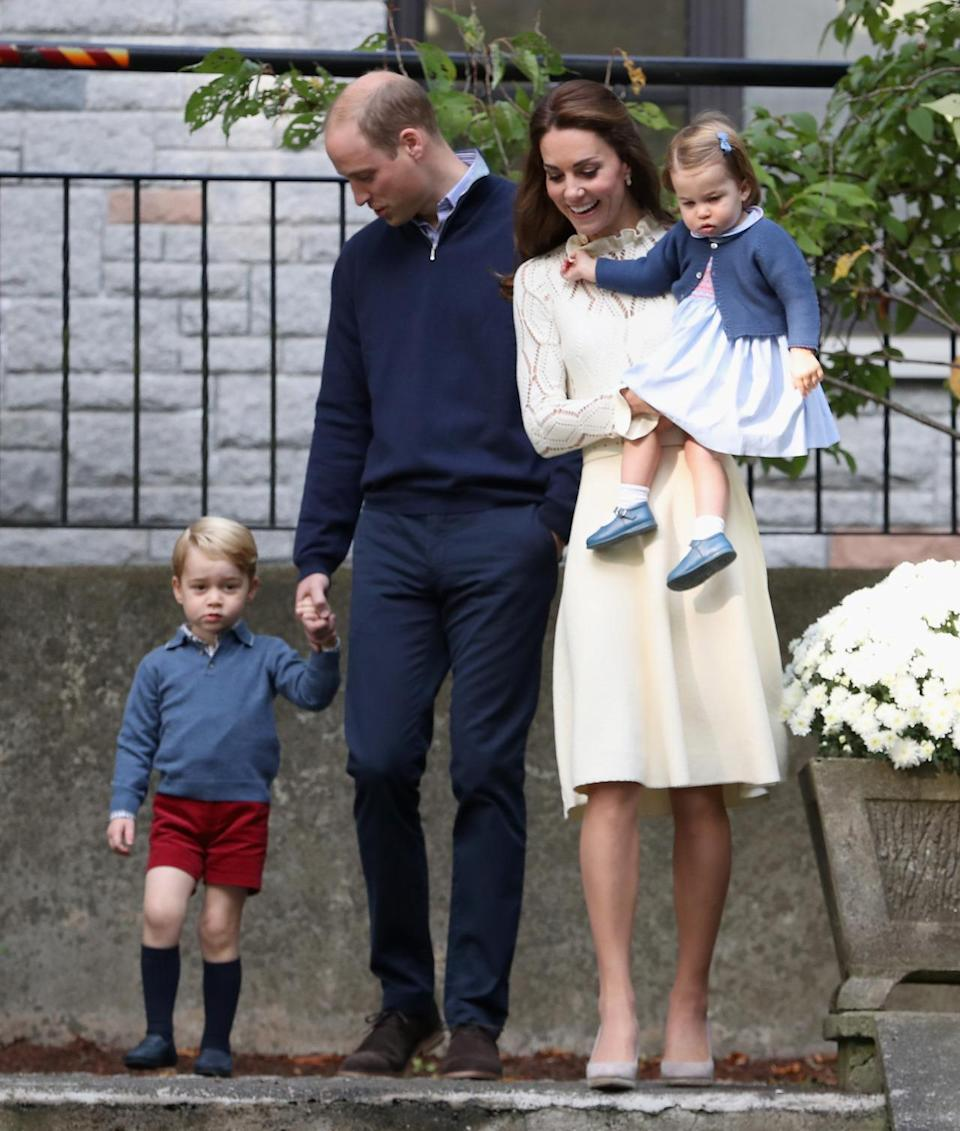 <p>The whole family turned out for a children's party in Canada with Kate donning an elegant knitted dress by See by Chloé; a new brand for the Duchess. She accessorised with a white Acne Studios belt and espadrille wedges from high street label, Monsoon. </p><p><i>[Photo: PA]</i></p>