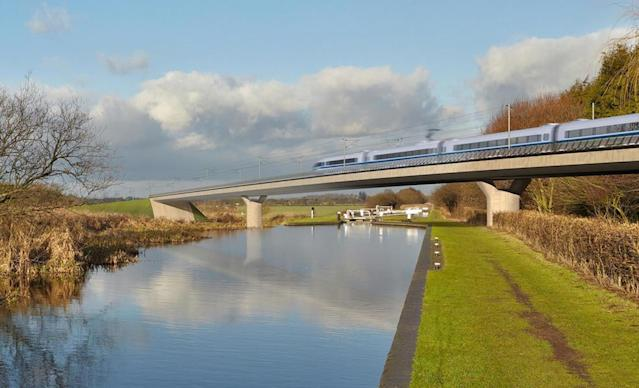 An artist's impression of a HS2 train on the Birmingham and Fazeley viaduct (PA)