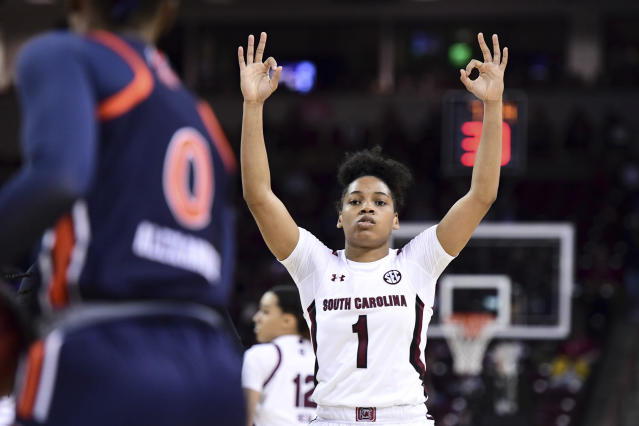 South Carolina guard Zia Cooke (1) celebrates a three-point basket against Auburn during the first half of an NCAA college basketball game Thursday, Feb. 13, 2020, in Columbia, S.C. (AP Photo/Sean Rayford)