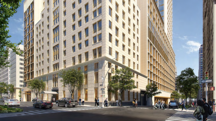 An initial rendering of a planned apartment tower on Park Avenue and East 76th Street, presented to Community Board 8 in March 2019. Part of Lenox Hill Hospital's initial expansion plans, the apartment building has since been scrapped. (Northwell Health)