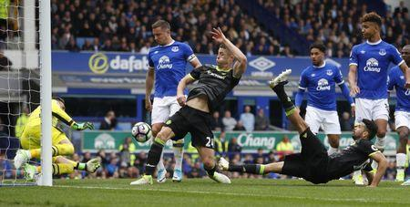 Britain Football Soccer - Everton v Chelsea - Premier League - Goodison Park - 30/4/17 Chelsea's Gary Cahill scores their second goal Reuters / Phil Noble Livepic