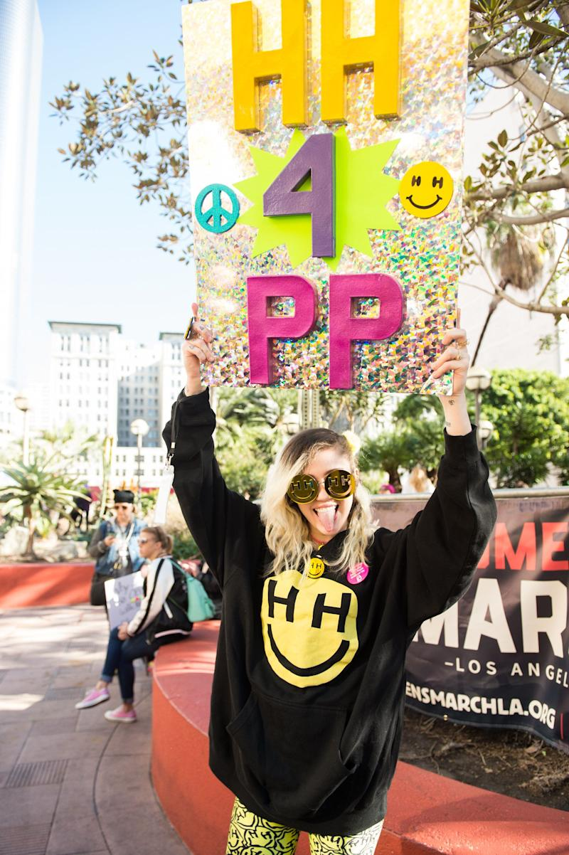 Miley Cyrus attends the women's march in Los Angeles.