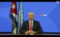 In this photo taken from video, Cuba's President Miguel Díaz-Canel remotely addresses the 76th session of the United Nations General Assembly in a pre-recorded message, Thursday, Sept. 23,2021, at UN headquarters. (UN Web TV via AP)