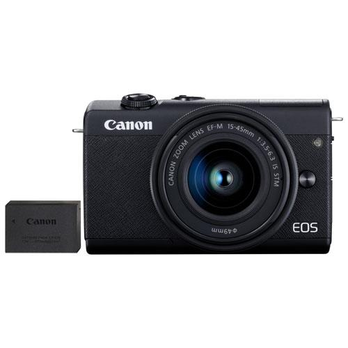 Save $100 on the Canon EOS M200 Mirrorless Camera with 15-45mm IS STM Lens Kit & Extra Battery Pack. Image via Best Buy.