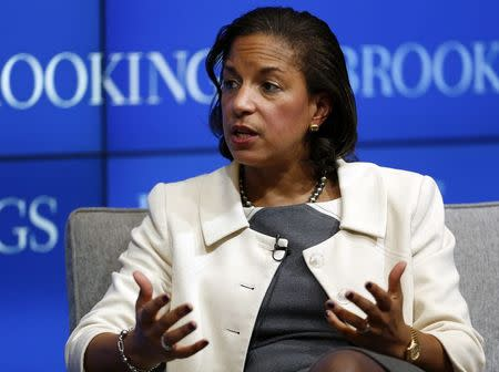 US National Security Advisor Rice answers questions at Brookings Institution in Washington