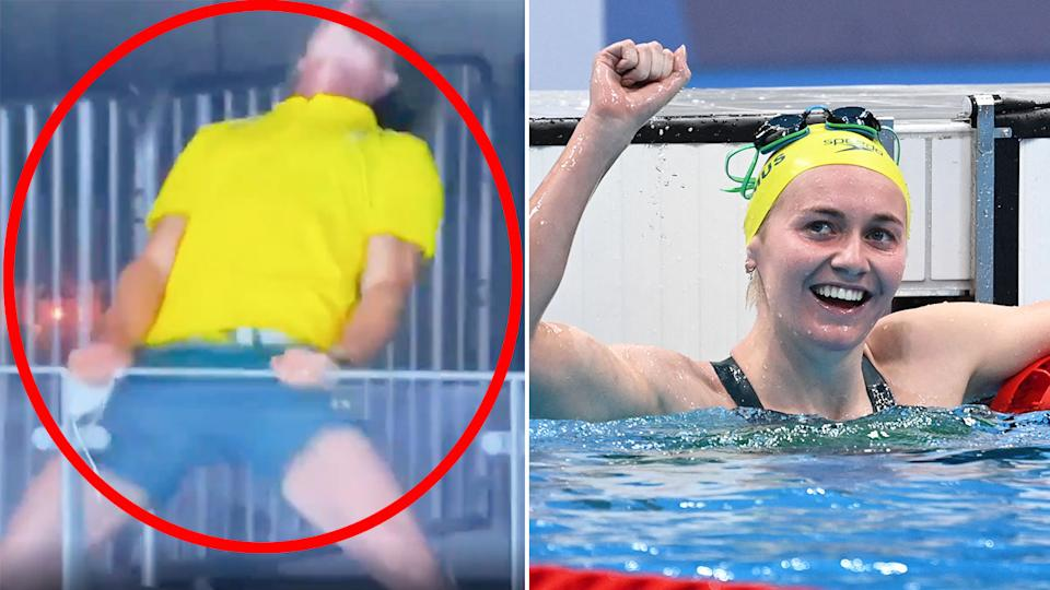 Ariarne Titmus' coach was extremely excited after her superb 400m freestyle gold medal. Pic: Ch7/Getty