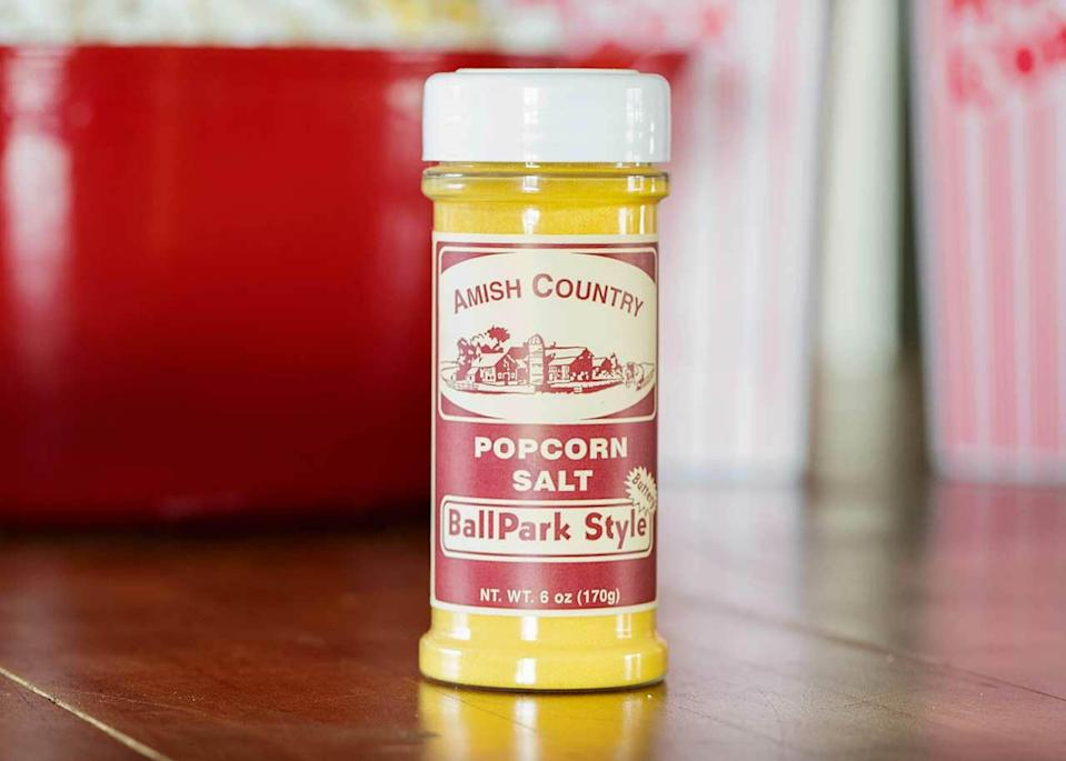 """<p>amishcountrypopcorn.com</p><p><strong>$2.99</strong></p><p><a href=""""https://amishcountrypopcorn.com/ballpark-style-popcorn-salt-6-oz/"""" rel=""""nofollow noopener"""" target=""""_blank"""" data-ylk=""""slk:Shop Now"""" class=""""link rapid-noclick-resp"""">Shop Now</a></p><p>To give your popcorn that real concession stand taste, you need this specialty salt made by Amish farmers in Indiana. A little goes a long way, but your popcorn will taste out of this world.</p>"""