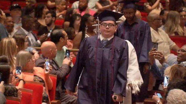 PHOTO: Tom Sweeney graduated from Philadelphia Performing Arts charter school on time Friday, June 14, 2019, despite being diagnosed with leukemia as a 13-year-old. (WPVI)
