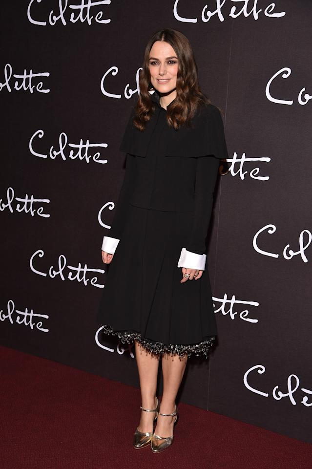 <p>The actress flew the Parisian flag to promote 'Colette' in a chic midi dress by go-to label Chanel on January 10. <em>[Photo: Getty]</em> </p>