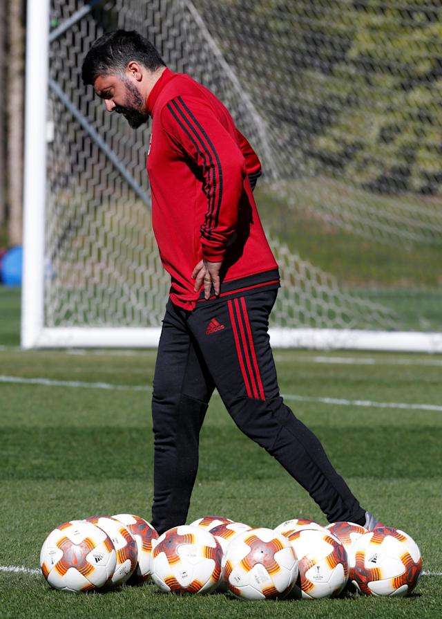 Soccer Football - Europa League - AC Milan Training - Milanello Sport Center, Milan, Italy - March 14, 2018 AC Milan coach Gennaro Gattuso during training REUTERS/Stefano Rellandini