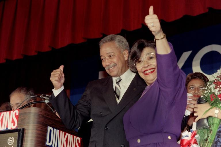 David Dinkins and his wife Joyce celebrate after winning the New York mayoralty in 1989