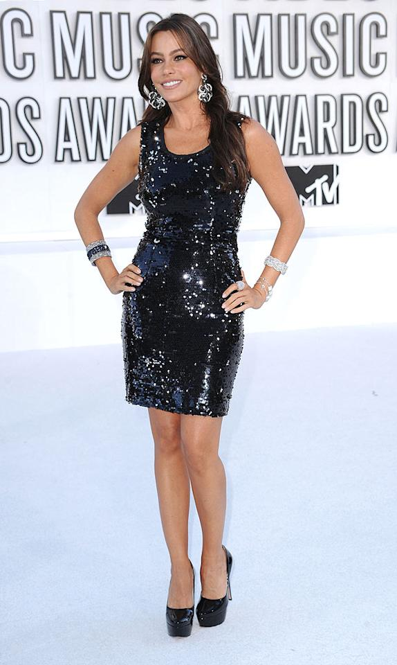 """""""Modern Family's"""" Sofia Vergara looked almost too classy for the MTV event in a sexy sequined sheath and patent-leather pumps. Steve Granitz/<a href=""""http://www.wireimage.com"""" target=""""new"""">WireImage.com</a> - September 12, 2010"""