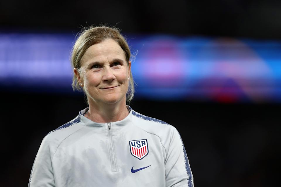 PARIS, FRANCE - JUNE 28:  Jill Ellis, Head Coach of USA looks on in victory after during the 2019 FIFA Women's World Cup France Quarter Final match between France and USA at Parc des Princes on June 28, 2019 in Paris, France. (Photo by Naomi Baker - FIFA/FIFA via Getty Images)