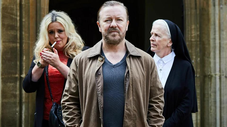 Ricky Gervais's new Netflix show 'After Life' has been criticised for reusing jokes from the comedian's back catalogue. (Credit: Netflix)