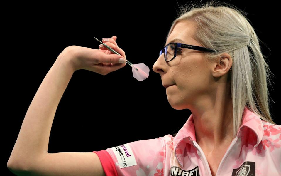 Fallon Sherrock throws in her match against Glen Durrant during day two of the Unibet Premier League at Motorpoint Arena -Fallon Sherrock set to return to competitive action next month in Austria after shielding from coronavirus - GETTY IMAGES